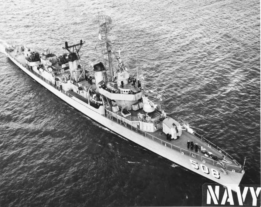Good overhead recruiting poster shot of DDE-508 in her Cold War haze scheme, Photograph dated 12 March 1967, which would put her just before her Vietnam deployment. Official U.S. Navy Photograph, from the collections of the Naval History and Heritage Command. NH 104499