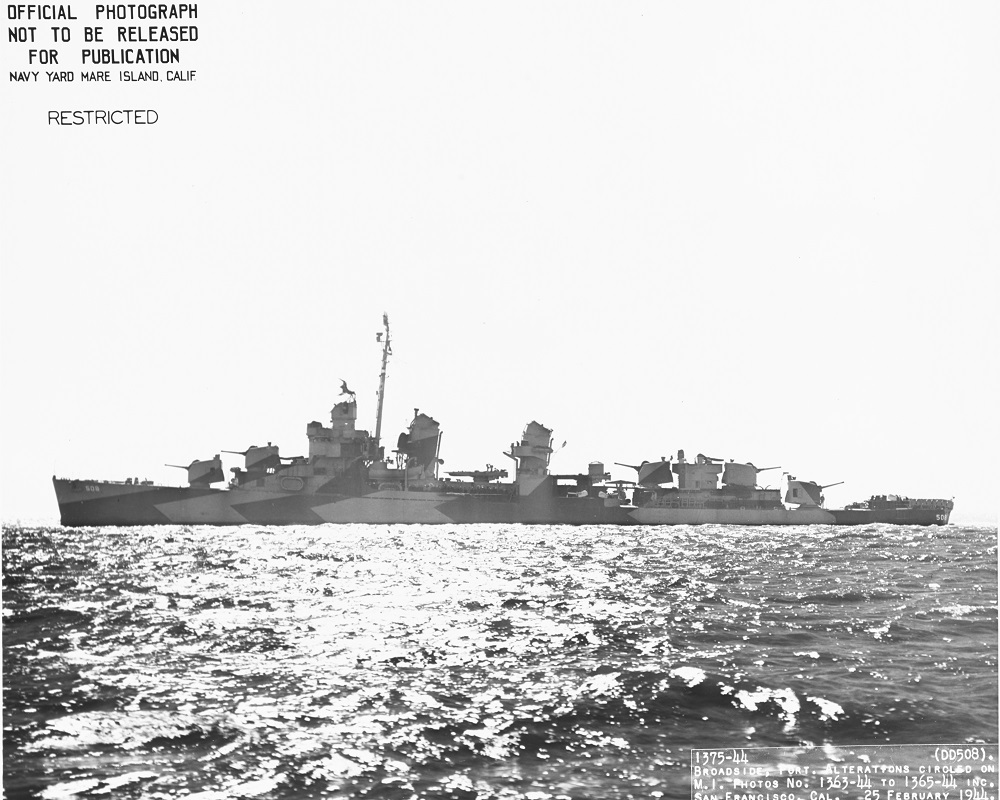 (DD-508) In San Francisco Bay, California, 25 February 1944. The ship is painted in Camouflage Measure 32, Design 21D. Official U.S. Navy Photograph, from the collections of the Naval History and Heritage Command. NH 104876