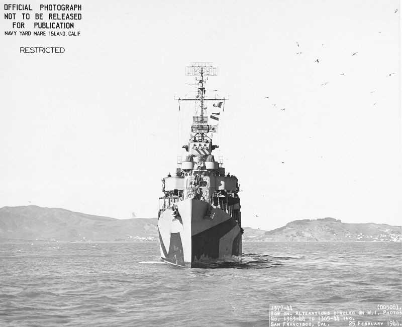 (DD-508) Seen from almost directly ahead, while in San Francisco Bay, California, 25 February 1944. NH 104877