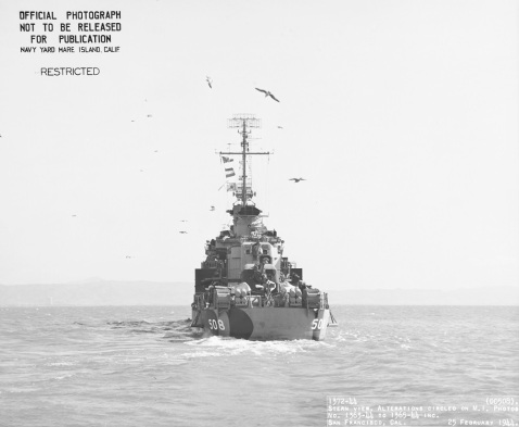 (DD-508) Seen from almost directly astern, while in San Francisco Bay, California, 25 February 1944.NH 104878