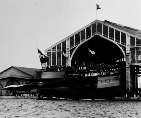 Launch of the ship at Marinearsenal Pola on 6 July 1887.Description: Courtesy of the International Naval Research Organization, Karl Gogg collection. NH 87057