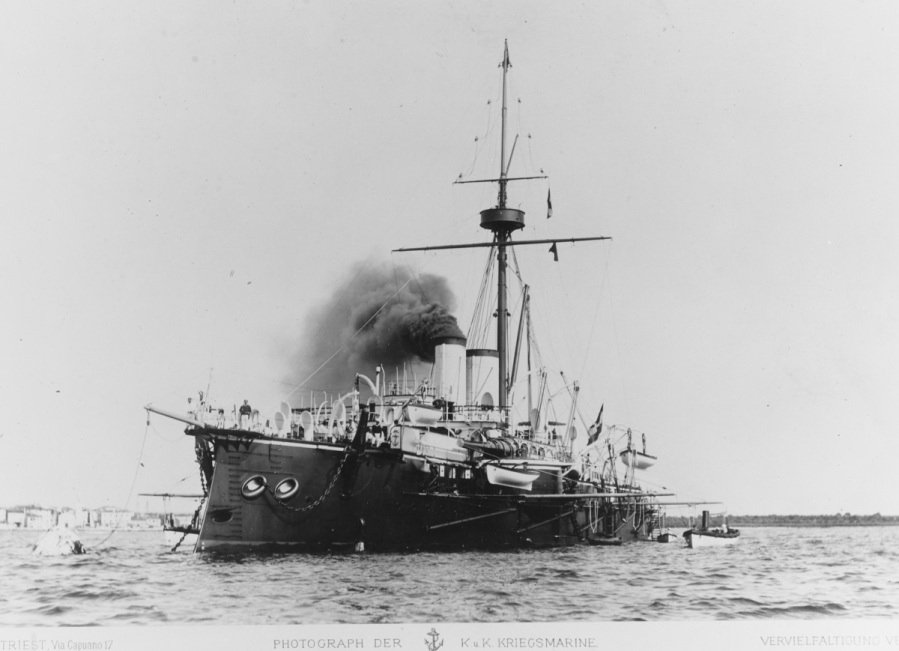 Photographed by B. Circovich of Trieste, in a print obtained by the U.S. Navy's Office of Naval Intelligence in Washington, District of Columbia on 24 June 1899. Note the large anchor at the ship's bow. NH 88935