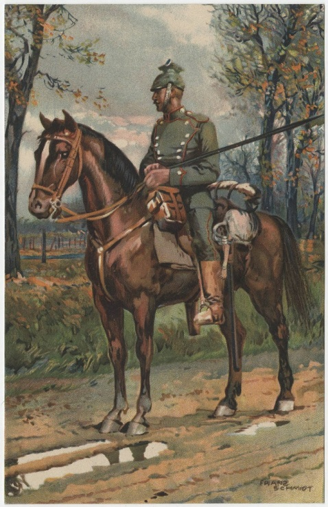 Postcard showing a member of the German uhlan cavalry on horseback with lance.