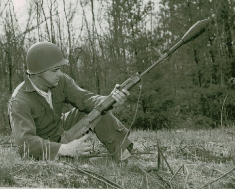 Caption: Quabbin Pictures Taken of T48. Rifle, Caliber .30, T48 - with Gunner (Majewski) - Firing M29 (T42) Grenade, via National Archives