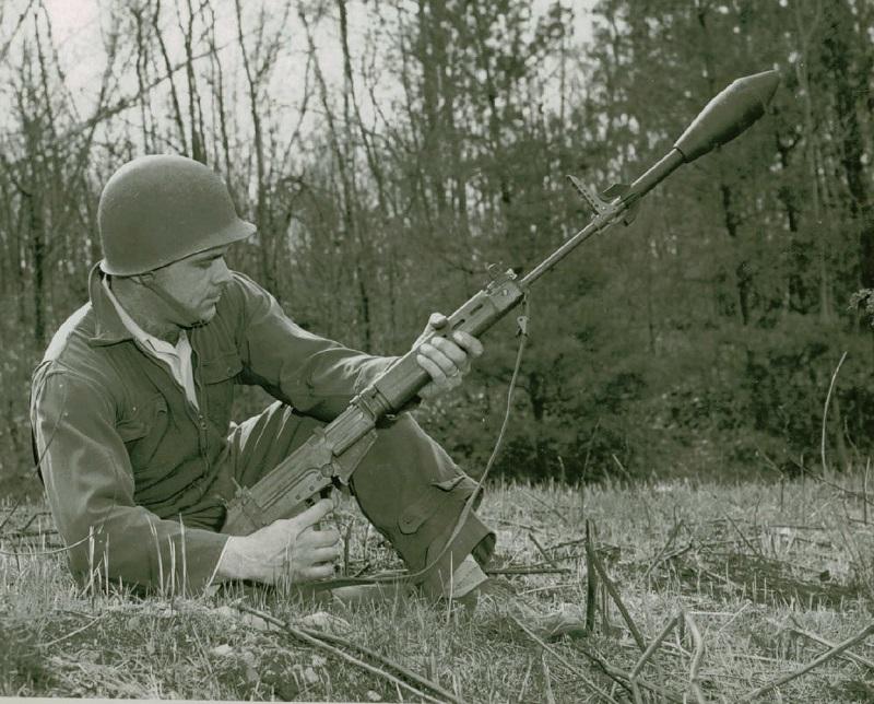 Caption: Quabbin Pictures Taken of T48. Rifle, Caliber .30, T48 - with Gunner (Majewski) - Firing M29 (T42) Grenade, via National Archives