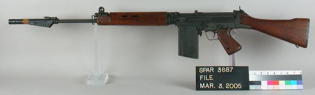 A great representation of Harrington and Richardson's (H&R's) T48 FAL, this one SN#4538. Note the grenade launcher attachment