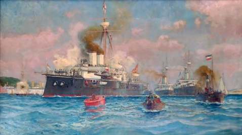 Squadron drill of SMS Kronprinz Erzherzog Rudolf at front, SMS Kronprinzessin Erzherzogin Stephanie, SMS Kaiser Franz Joseph I and SMS Tiger at Kiel, 1890, oil on canvas by Alexander Kircher, via wiki