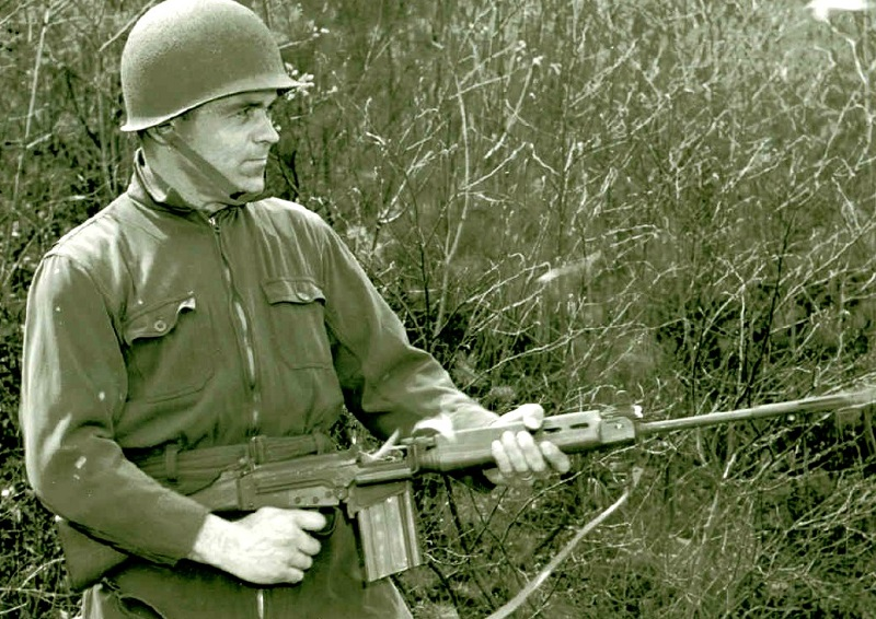 T48, Rifle, Caliber .30, T48 - with Gunner - Off-Hand Firing May 1955