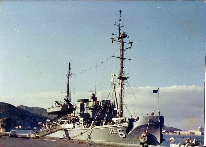 USS Escape (ARS-6) moored pierside at Cartagena, Spain, circa 1976-77. Mario Gomes via Navsource