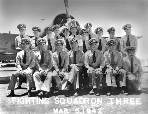 Extreme left, back row: ENS Newton H. Mason was killed in action against Japanese forces in the Battle of the Coral Sea, May 1942. He had joined the squadron just five months before, fresh from flight school.
