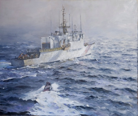 "In this work from the U.S. Coast Guard Art Program 2014 Collection, ""Above the Seneca,"" ID# 201404, the USCGC Seneca (WMEC 906) patrols in the Straits of Florida. Homeported in Boston, the Seneca's missions range from protecting and enforcing laws for living marine resources to deploying in support of joint agency intercepts of drug smugglers in the Caribbean Sea. U.S. Coast Guard Art Program work by James Consor."