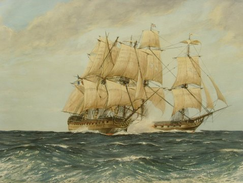 'British Frigate Success attacking Genereux Feb. 18, 1800, winging her and delaying her until Nelson arrived' by the artist R. Bramley. Source http://www.antiques-atlas.com/antique/rbramley_oil_hms_success_engaging_genereux/as237a1163