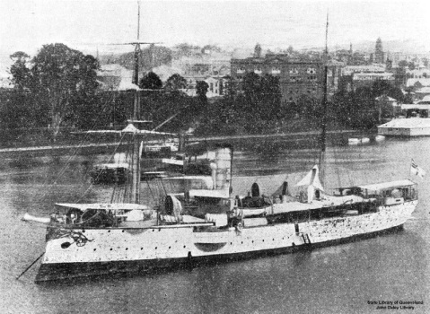 Cormoran (ship) moored opposite the Botanic Gardens in Brisbane after 1909. Note her two-mast rig