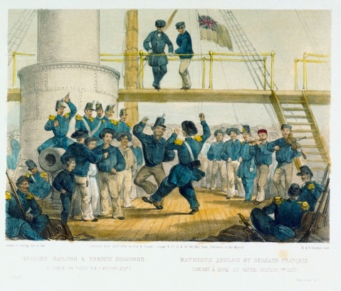 English sailors & French soldiers. A Dance on board HMS Vulture Augt 7 (caricature), via Royal Museums Greenwich collection