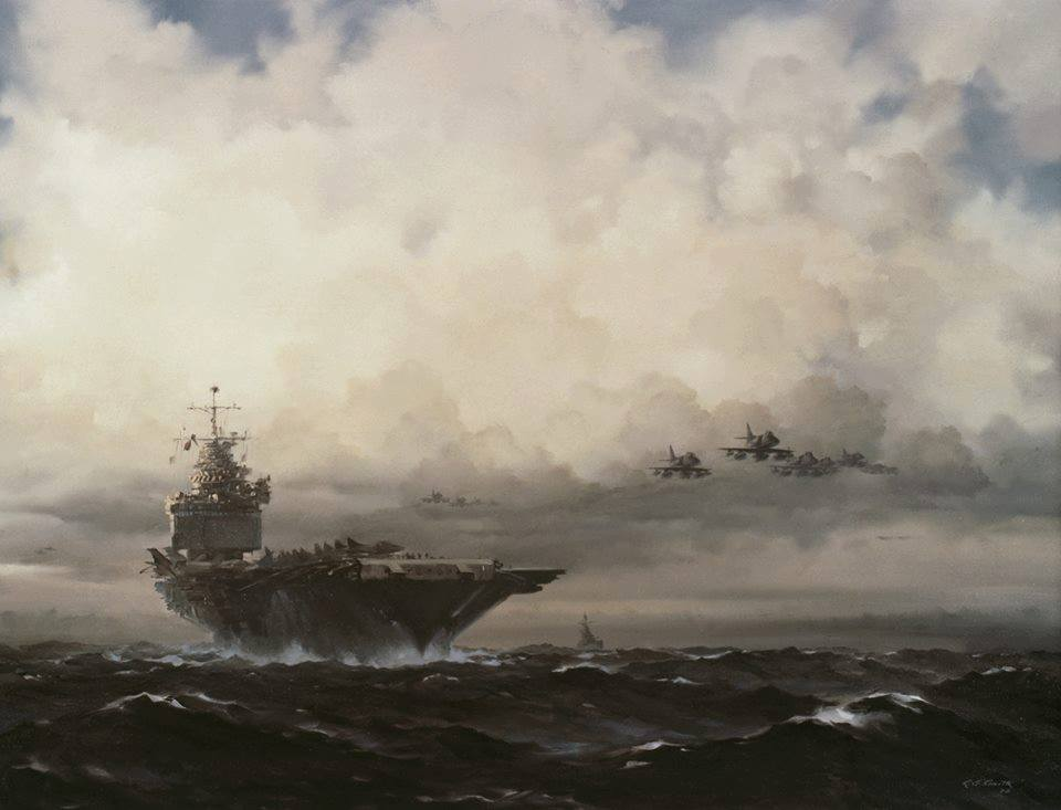 """""""Enterprise on Yankee Station"""" by R.G. Smith, Oil Painting, c. 1968. Accession: 88-160-EU Courtesy U.S. Navy Art Gallery, Naval History and Heritage Command"""