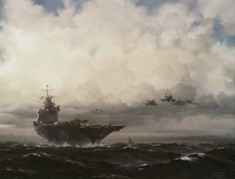 """Enterprise on Yankee Station"" by R.G. Smith, Oil Painting, c. 1968. Accession: 88-160-EU Courtesy U.S. Navy Art Gallery, Naval History and Heritage Command"