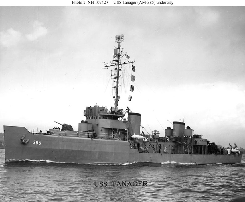 (AM-385) Underway, circa 1946-1947. Courtesy of the U.S. Naval Institute Photo Collection. U.S. Naval History and Heritage Command Photograph NH 107427