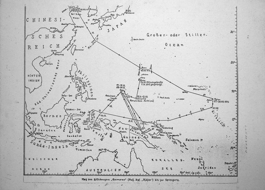 "Map of SMS Cormoran travels before reaching Guam on 14 December 1914. Courtesy of Tony ""Malia"" Ramirez. Guampedia Foundation"
