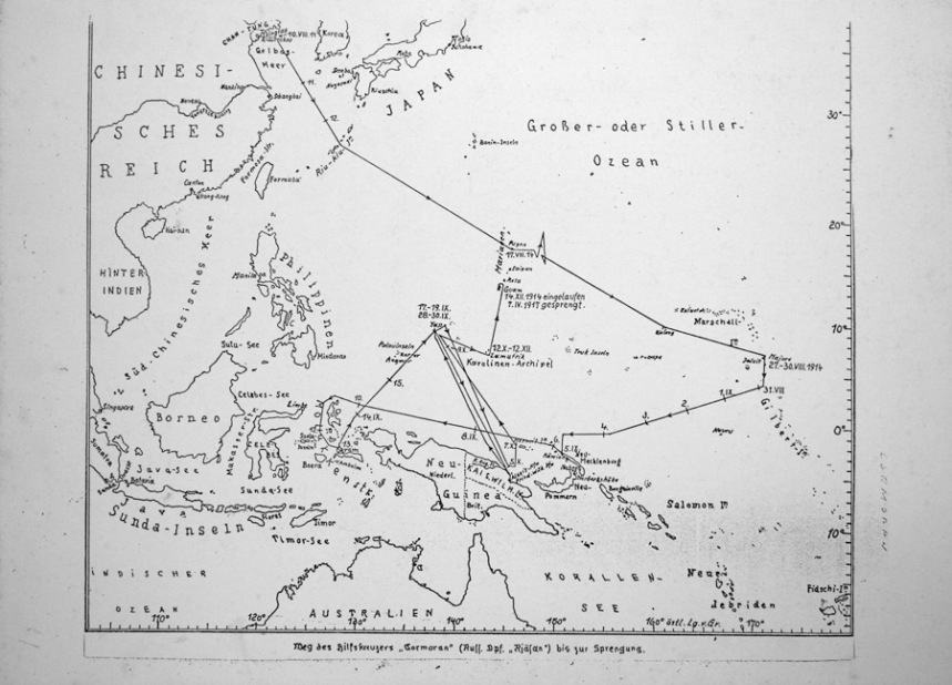 "Map of SMS Cormoran travels before reaching Guam on 14 December 1914. Courtesy of Tony ""Malia"" Ramirez. Guampedia Foundation"