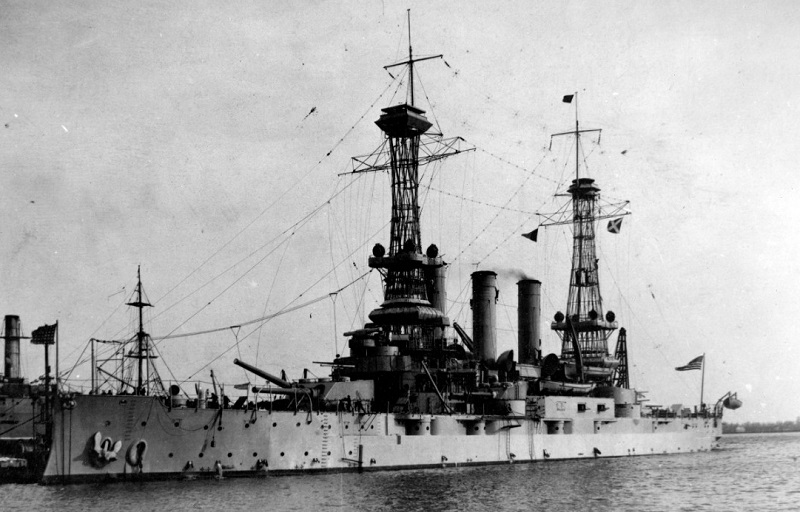 USS Minnesota (Battleship # 22) At the Philadelphia Navy Yard, circa 1919. Note that all of her 7-inch broadside guns have been removed. U.S. Naval History and Heritage Command Photograph. NH 61215