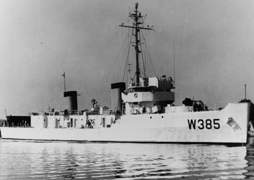 (WTR-385). Formerly USS Tanager (AM/MSF-385) Photographed in early or mid-1964, just prior to her commissioning as a Coast Guard cutter. Courtesy of Stephen S. Roberts, 1978. U.S. Naval History and Heritage Command Photograph. Catalog #: NH 88071