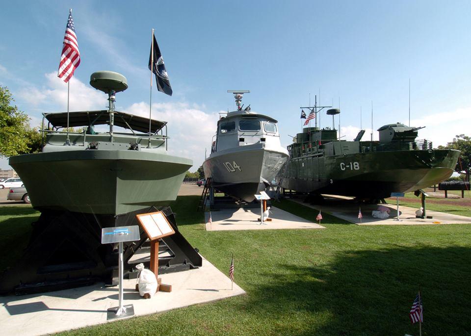 pbr-patrol-boat-river-mark-ii-mk-2-patrol-boat-a-pcf-patrol-craft-fast-swift-boat-and-an-armored-gunboat