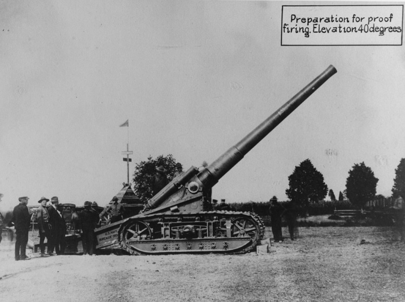 Seven-inch tractor mount, Mark five Caption: Developed during World War I. Gun in preparation for proof firing, barrel at 40 degrees elevation. The first gun to be fired at the Naval Proving Ground, Dahlgren, Virginia, was this 7-inch caterpillar gun. Taken on a glass plate in October 1918. This gun is still (December 1963) on the station, though no longer used, it is a tourist attraction. Description: Catalog #: NH 70232