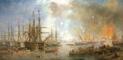 The Bombardment of Sveaborg, 9 August 1855, by John Wilson Carmichael (1799–1868), National Maritime Museum, via ArtUK. The steamship in the center of the painting is Vulture. National Maritime Museum; http://www.artuk.org/artworks/the-bombardment-of-sveaborg-9-august-1855-173178