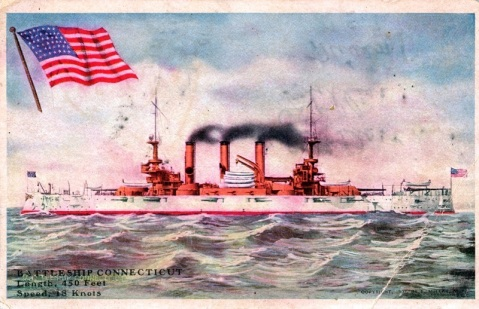 Postcard of USS Connecticut (BB-18) from 1909, the casemated guns above her waterline are 7-inchers.