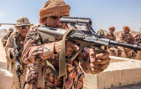 A Royal Oman Army soldier with an Austrian-made Steyr AUG, standard issue not only in Austria and Oman nut also Australia Bolivia, Ecuador, Ireland, Luxembourg, Malaysia, New Zealand, Saudi Arabia, Tunisia and Pakistan
