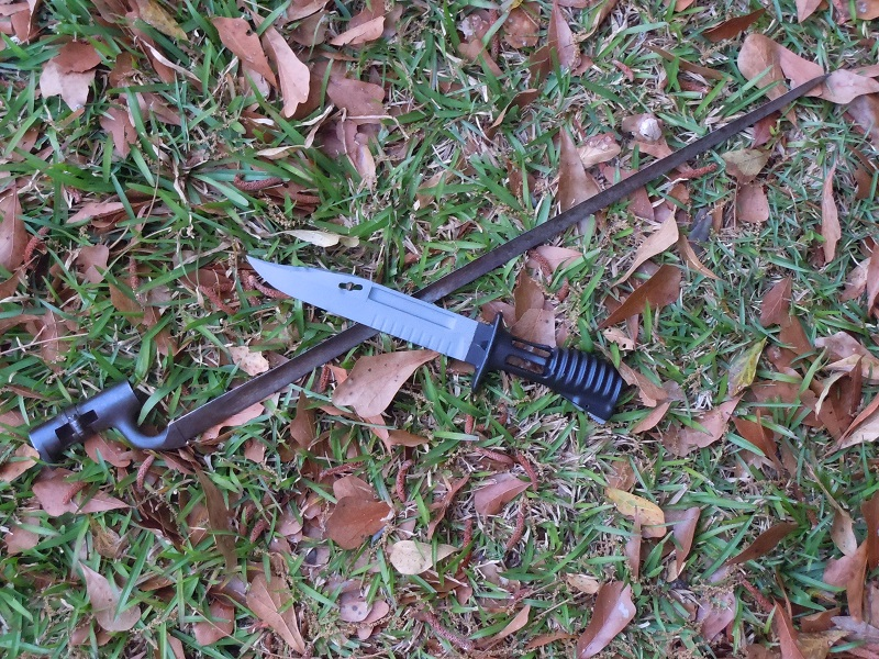 The Enfield P53 bayonet, standard at the time of the Crimean War, and the Enfield L85 (SA80) bayonet, still standard issue today. While the blade has changed the basic concept endures (Photo: Chris Eger)