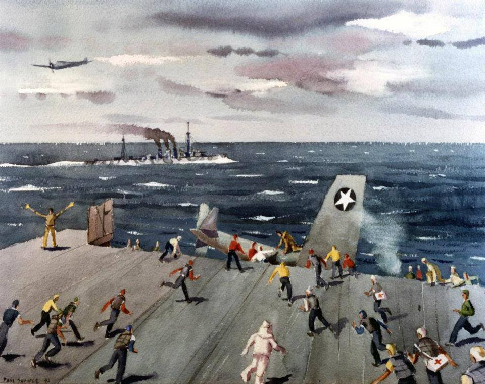 """Fighter disaster on USS Ranger (CV 4), which depicts the crash of an F4F-4 """"Wildcat"""" fighter on board USS Ranger on 25 August 1942 after an off center landing attempt. Artwork by Paul Sample. Photo # NH 89617-KN (Color)"""