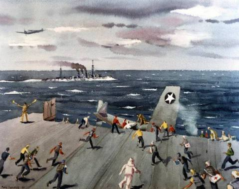 "Fighter disaster on USS Ranger (CV 4), which depicts the crash of an F4F-4 ""Wildcat"" fighter on board USS Ranger on 25 August 1942 after an off center landing attempt. Artwork by Paul Sample. Photo # NH 89617-KN (Color)"