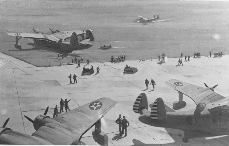Seaplane base, Naval Air Station, Norfolk, Virginia Caption: Artist: Paul Sample, 1942. Description: Time-Life Collection Courtesy of Chief of Military History Catalog #: NH 89615-KN