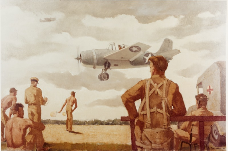 Field carrier landings, Naval Air Station, Norfolk, Virginia Caption: Artist: Paul Sample, 1942. Description: Time-Life Collection Courtesy of Chief of Military History Catalog #: NH 89616-KN