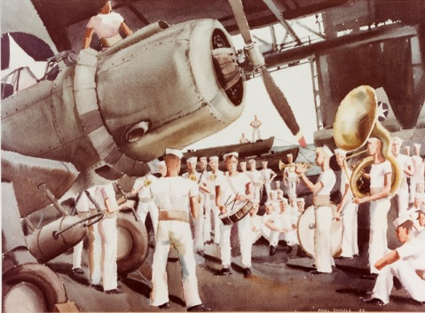 Ship's band, USS RANGER (CV-4) Caption: Artist: Paul Sample, 1942. Description: Time-Life Collection Courtesy of Chief of Military History Catalog #: NH 89619-KN