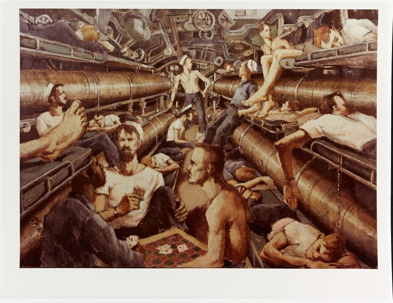 """Crew's quarters aboard a Pacific submarine Caption: Artist: Paul Sample, 1943. 17""""x 24"""". Description: Time-Life Collection Courtesy of Chief of Military History Catalog #: NH 89620-KN"""