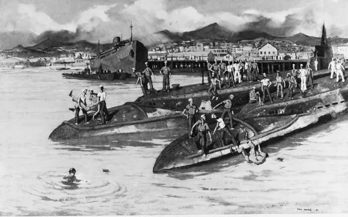 """""""Chinese overside, submarine base, Pearl Harbor""""Caption: Artist: Paul Sample, 1943. 28""""x 44"""". Description: Time-Life Collection Courtesy of Chief of Military History Catalog #: NH 89621-KN"""