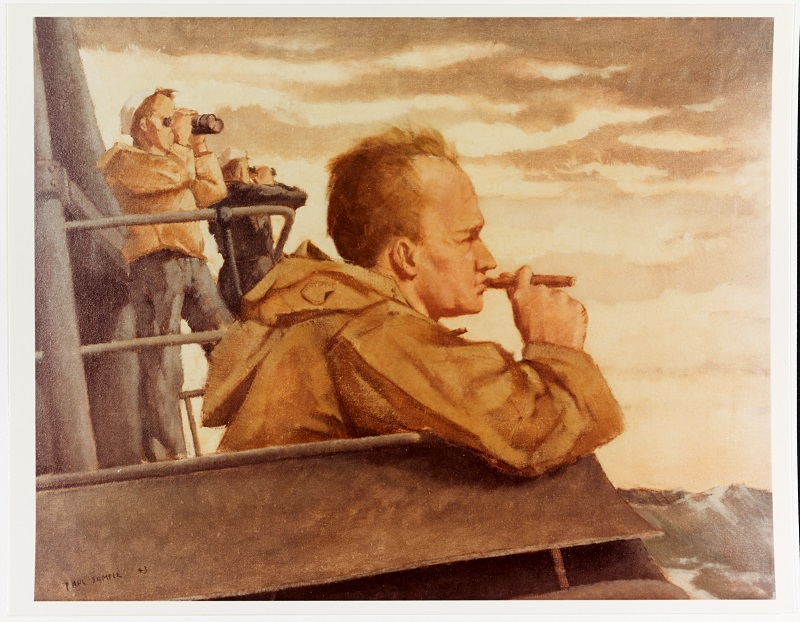"""Skipper on the bridge, Pacific submarine Caption: Artist: Paul Sample, 1943. 24""""x 30"""". Description: Time-Life Collection Courtesy of Chief of Military History Catalog #: NH 89622-KN"""