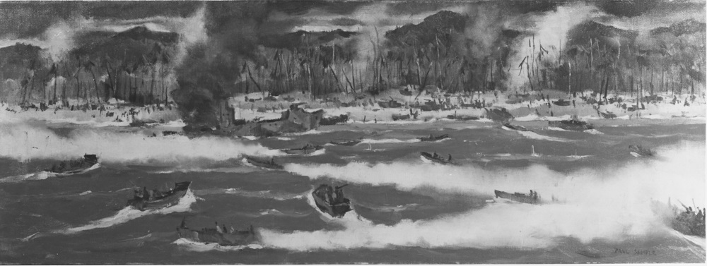 """Red beach, Leyte, Pacific Caption: Artist: Paul Sample, 1944. 14""""x 38"""". Description: Time-Life Collection Courtesy of Chief of Military History Catalog #: NH 89623-KN"""