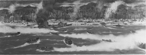 "Red beach, Leyte, Pacific Caption: Artist: Paul Sample, 1944. 14""x 38"". Description: Time-Life Collection Courtesy of Chief of Military History Catalog #: NH 89623-KN"