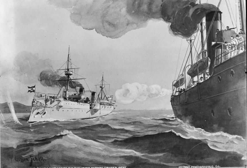 """U.S.S. McCulloch firing a shot across the bow of the German cruiser Irene"" by Frank Cresson Schnell, 1898, LOC LC-DIG-det-4a14436"