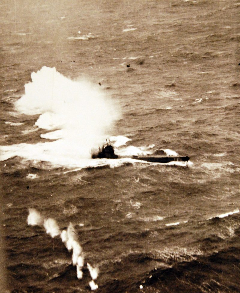 80-G-222832 U-271, a German a Type VIIC, being sunk off Ireland by a Liberator aircraft of VB-103 on 28 January 1944 in the Northwest Atlantic. Incident #5430. While a member of both the Rügen and Hinein Wolfpacks, and a participant in three patrols, U-271 did not achieve any kills.