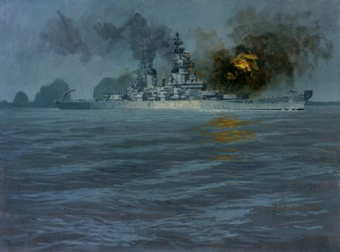 """USS New Jersey in Vietnam"" Painting, Tempera on Paper; by John Charles Roach; 1969; NHHC Accession #: 88-197-CE Launched in 1942, New Jersey (BB-62) saw service in WWII and Korea before being decommissioned in 1957. In 1968 she was reactivated and outfitted to serve as a heavy bombardment ship in Vietnam. At recommissioning, she was the only active battleship in the U.S. Navy. Between late September 1968 and early April 1969, she participated in Operation Sea Dragon, providing offshore gunfire support against inland and coastal targets. Soon thereafter, the Navy decided to reduce heavy bombardment forces in Southeast Asia. New Jersey was again decommissioned in December 1969."