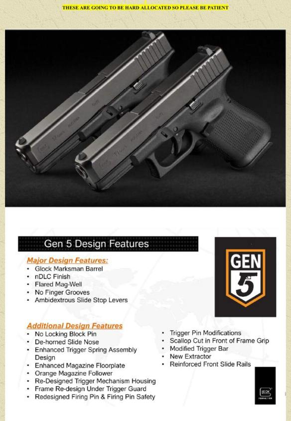 Glock Gen 5 G17 and G19 drop on the market this week