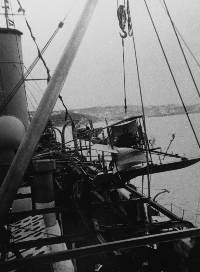 Russian Navy Curtiss Floatplane being hoisted aboard the Cruiser KAGUL (1902-1933) in February 1915, in the Black Sea. Courtesy of Mr. Boris V. Drapshil of Margate, Florida, 1984. Description: Catalog #: NH 100152