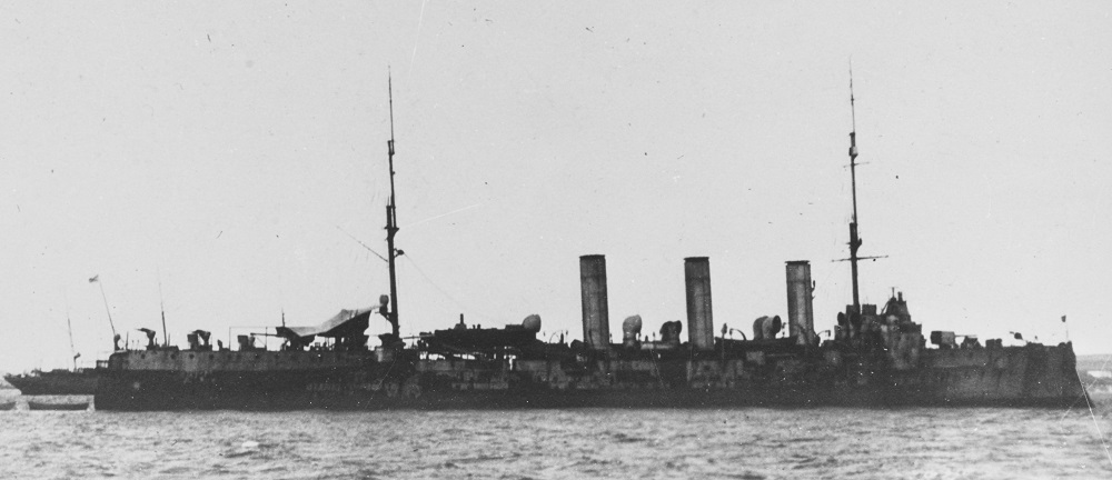 """GENERAL KORNILOV Possibly photographed at Bizerte, where the ship spent 1920 to 1932 as a unit of the White Russian """"Wrangel-Fleet."""" From the P.A. Warneck Collection, 1981; Courtesy of B. V. Drashpil of Margate, Florida. Catalog #: NH 92158"""