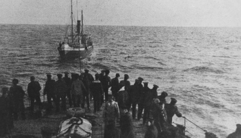 AMALIA (Turkish Merchant Ship) Photographed in the Black Sea at the time of capture on 4 May 1915 off the Rumelian coast. This 430-register ton merchant ship was carrying a cargo of petrol. This view was taken from aboard the Russian cruiser KAGUL (1902-1932) which made the capture while on a raiding cruise. Description: Courtesy of Boris V. Drashpil Catalog #: NH 94798