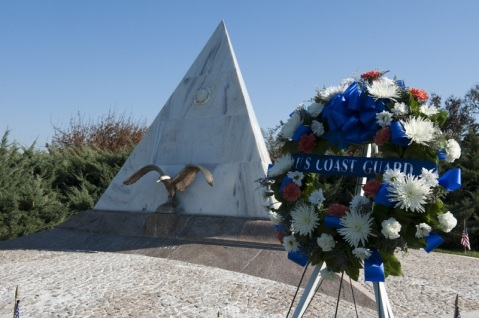 The Coast Guard command holds a Veteran's Day ceremony at Arlington National Cemetery in Arlington, Va., Nov. 11, 2012. The area where the Coast Guard World War I memorial, which honors the fallen crew members of the Cutter Seneca and Cutter Tampa, was placed is commonly referred to as Coast Guard Hill. U.S. Coast Guard photo by Petty Officer 1st Class Timothy Tamargo