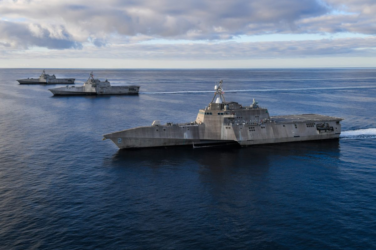 PACIFIC OCEAN (Feb. 27, 2019) The Independence variant littoral combat ships USS Independence (LCS 2), left, USS Manchester (LCS 14), and USS Tulsa (LCS 16) are underway in formation in the eastern Pacific. Littoral combat ships are high-speed, agile, shallow draft, mission-focused surface combatants designed for operations in the littoral environment, yet fully capable of open ocean operations. As part of the surface fleet, LCS has the ability to counter and outpace evolving threats independently or within a network of surface combatants. (U.S. Navy photo by Chief Mass Communication Specialist Shannon Renfroe/Released)